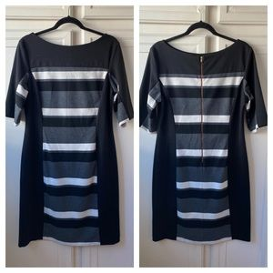Julian Taylor Striped Sheath Stretch Dress Size 14